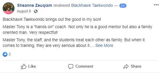 Blackhawktkdtestimonial1, Blackhawk TaeKwonDo Carpentersville