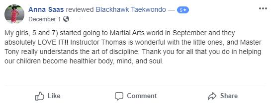Blackhawktkdtestimonial2, Blackhawk TaeKwonDo Carpentersville